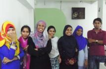 第4バッチでコンピューターグラフィックを学ぶ少女たち 一番左がチッタゴンから来たクルスンさん