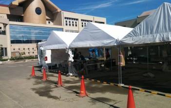 箭田サテライトに設置されたテント。