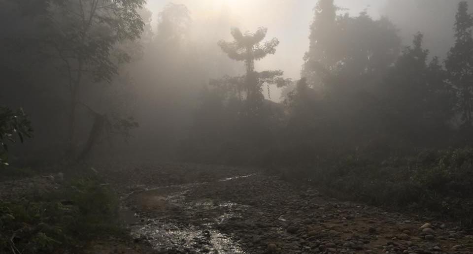 前回のスタディツアーで視察した河川のようす。 上流では朝日が差し込み神秘的な風景が見られた。
