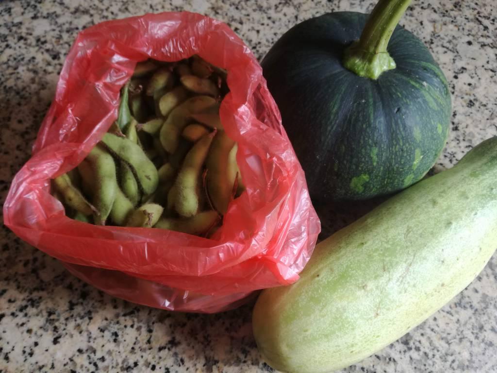 枝豆、かぼちゃ、きゅうり