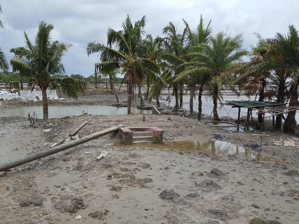サイクロン被害を受けた村の様子