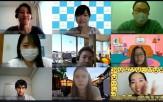 ビデオ通話でつないで、楽天の従業員の皆さまへシャプラニールの活動について紹介しました!(写真右上が髙階職員、その左が鈴木職員)